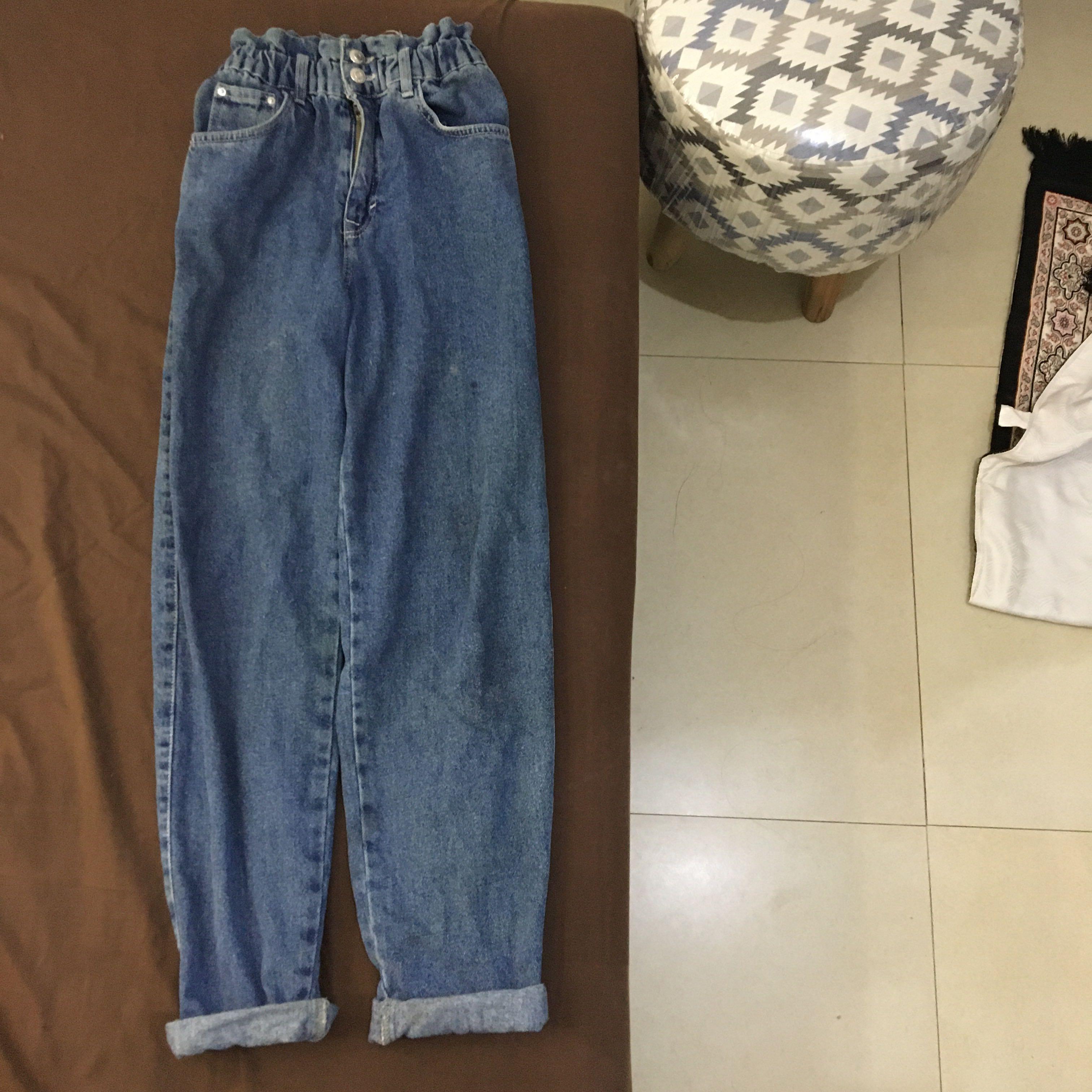Pull & bear slouchy jeans hw highwaist denim (pnb pull and bear p&b) #oktoberovo
