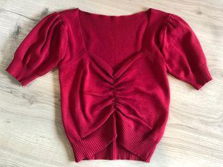 Red Knit Crop Top