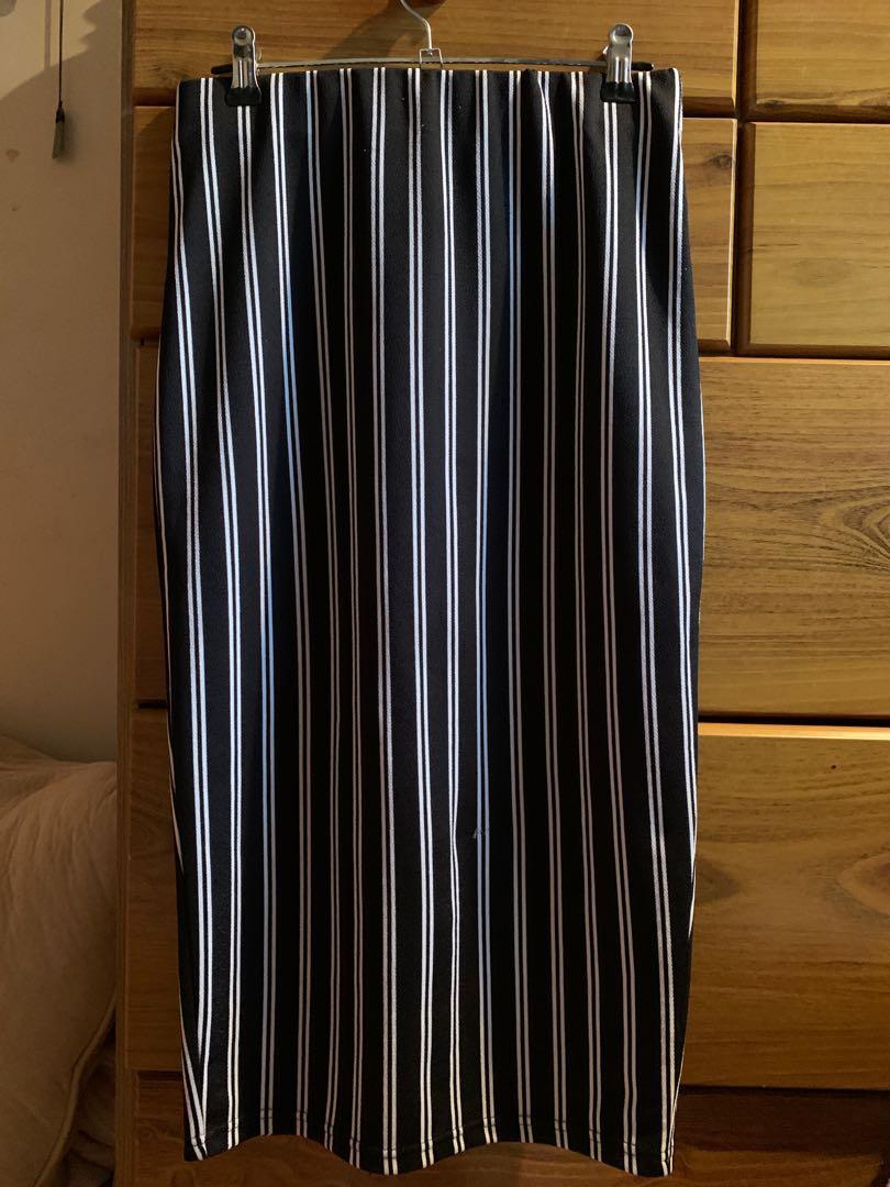 Striped Midi Skirt