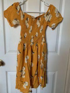 Yellow ruffle floral summer dress