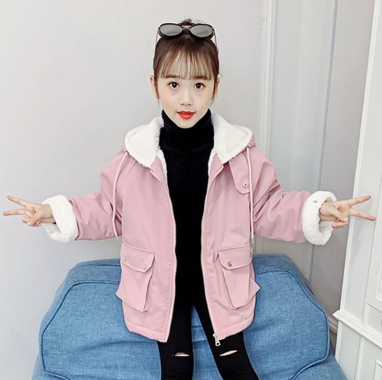 中大童韓版時尚加絨洋氣外套