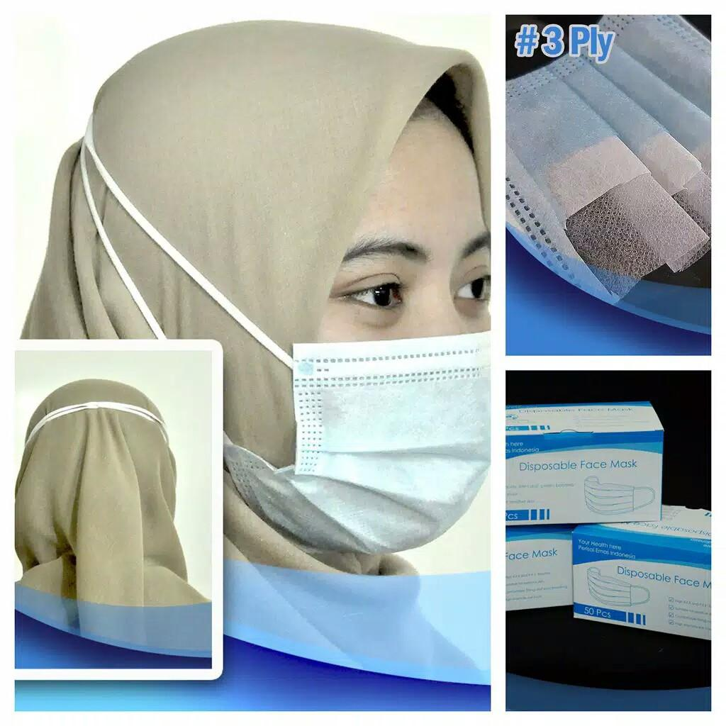Masker hijab 50 masker 1 box murah