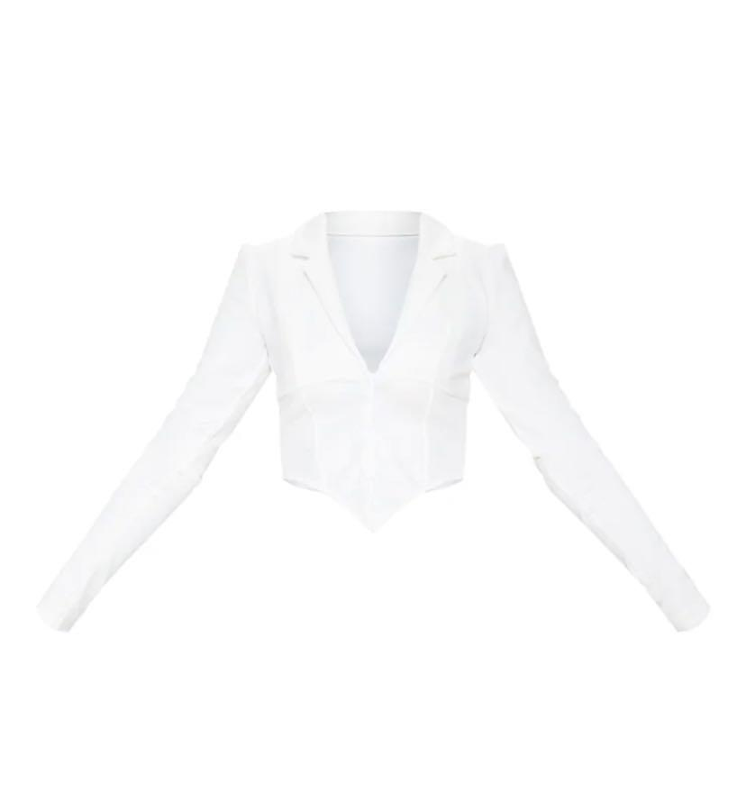 PRETTYLITTLETHINGS White Collar Detail Long Sleeve Cropped Shirt