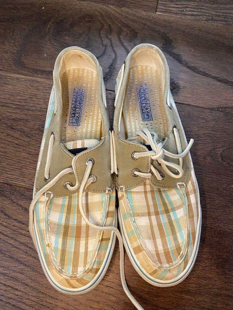 Sperry top sider women's plaid canvas shoes size 8