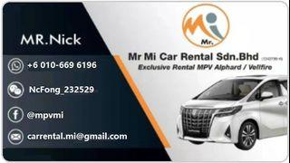 ⚠️TOYOTA 𝐌𝐏𝐕 𝐀𝐋𝐏𝐇𝐀𝐑𝐃 & 𝐕𝐄𝐋𝐋𝐅𝐈𝐑𝐄 Availabie For Rent A car rental company officially registered in SSM Malaysia, safe and reliable!