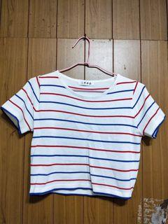 紅藍白條紋短板上衣(微透)