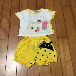 二手 約6-12M 黃瓢蟲短袖套裝 女寶寶