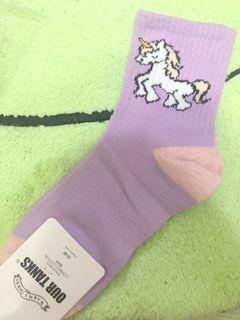 粉紫原宿系 獨角獸中長襪 #二手價