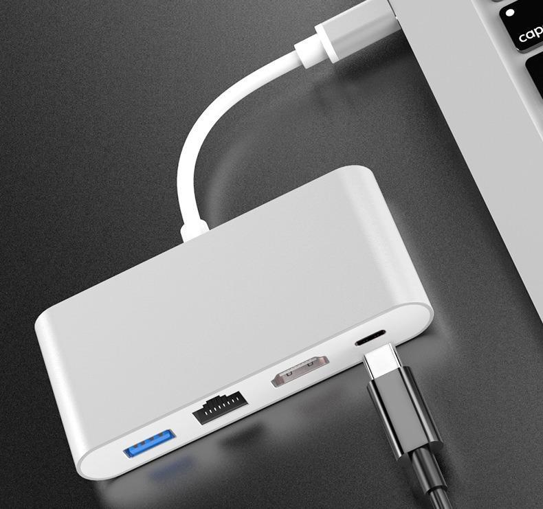 品名: 環保包裝Type-c轉HDMI四合一轉換器RJ45網卡hub集線器HDMI/PD充電/USB HUB J-14664