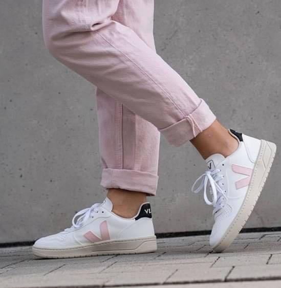 法國 VEJA V-10 小白鞋 粉紅V/黑尾