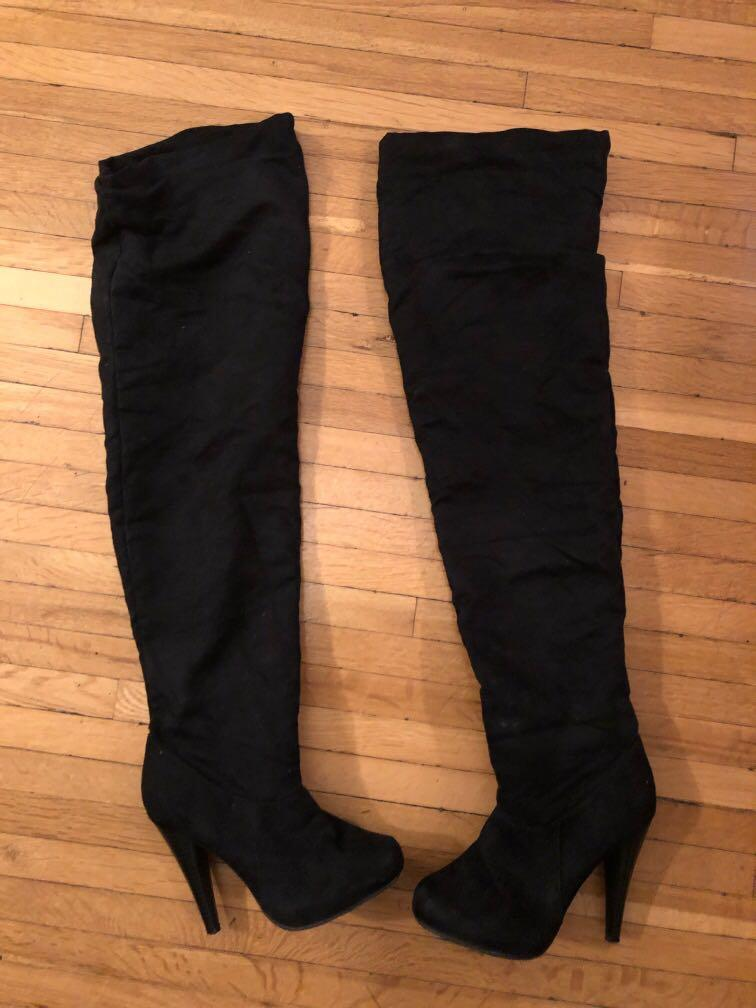 Above the knee boots suede