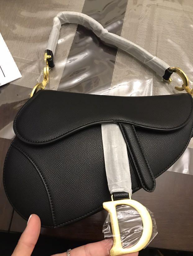 Brand new Black Dior Saddle Bag Black Grained Calfskin