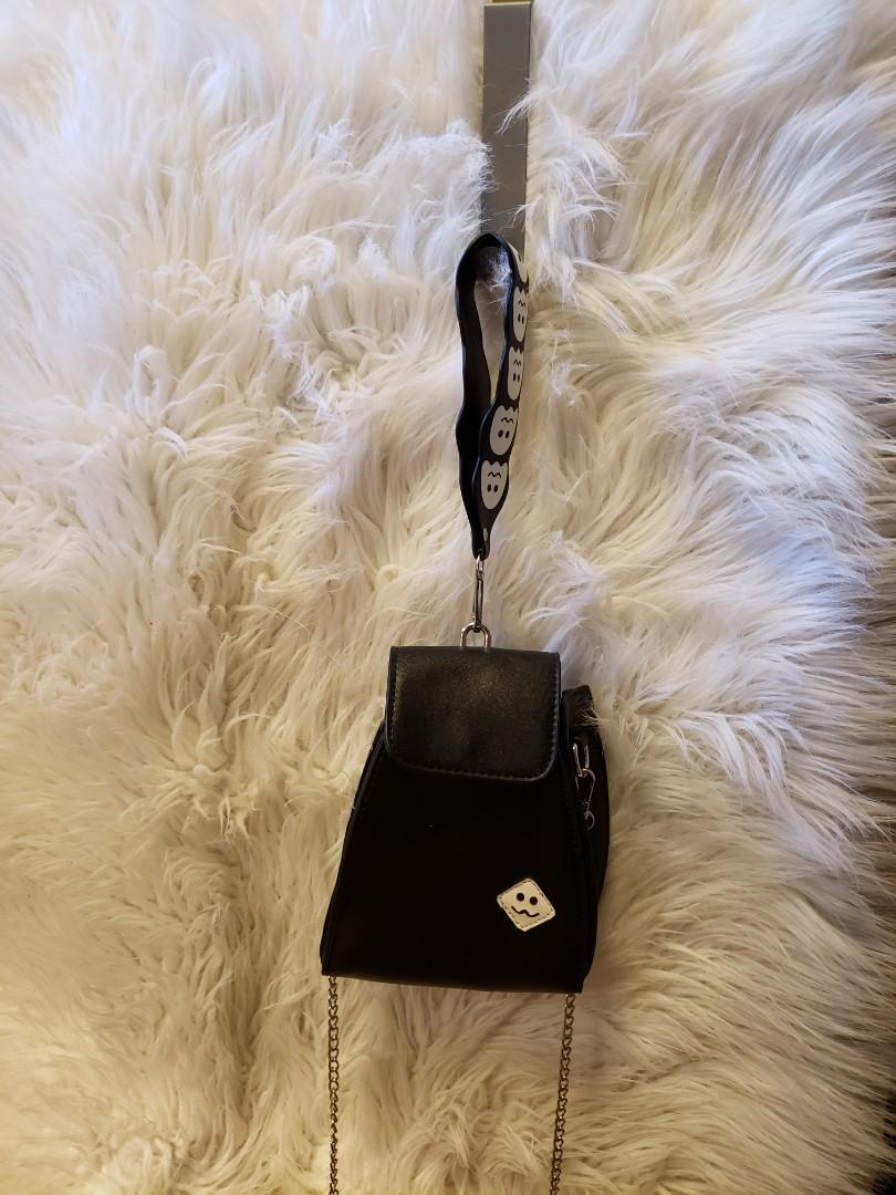 Cute black purse with ghost emoji strap