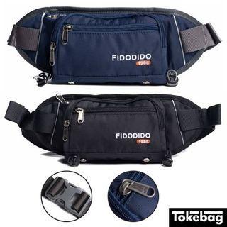 FIDO DIDO Classic Water Repellent Bottle Slot Waist Pouch Bag 30cm x 12cm x 8cm