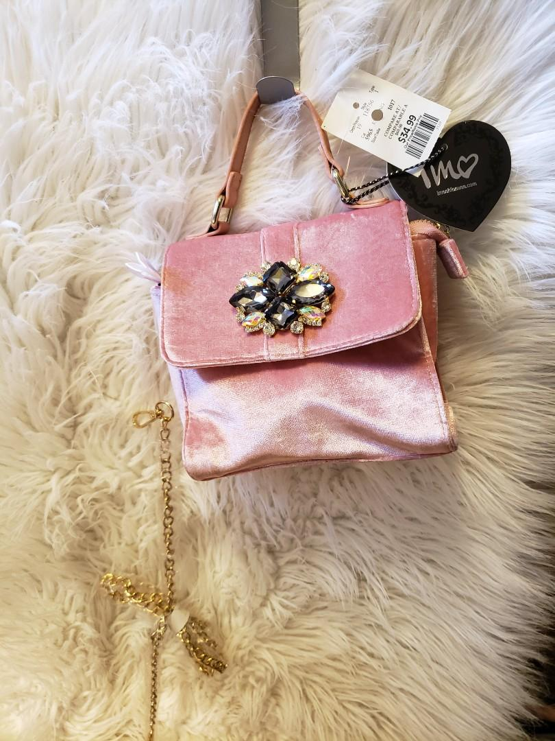 PINK brush velvet purse