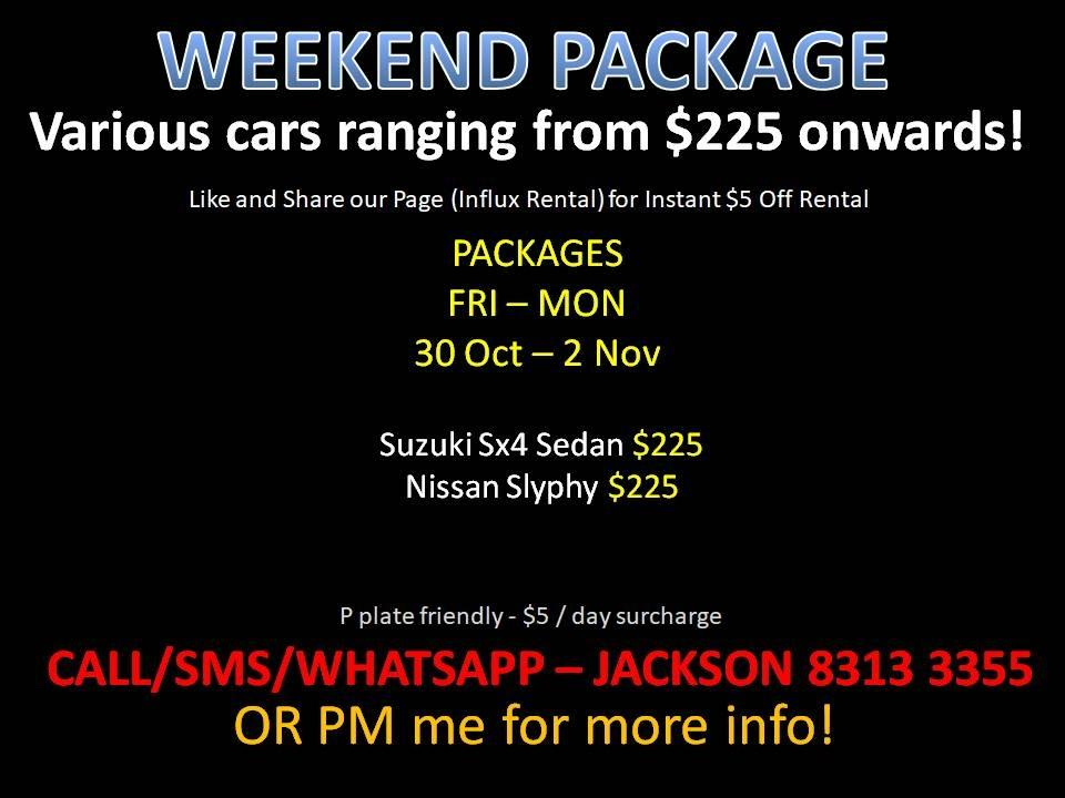 THIS WEEKEND CAR RENTAL NO DEPOSIT PROMOTION *P PLATE FRIENDLY* (Sembawang)