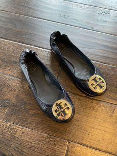 Tory Burch Navy Blue Patent Leather 5.5