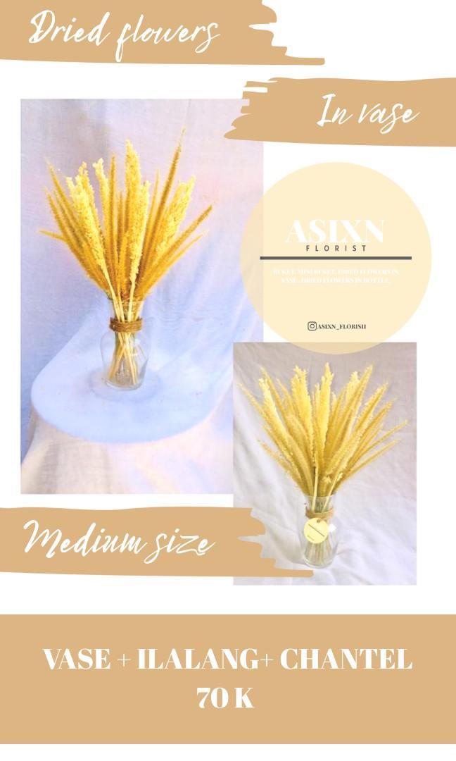 Vas bunga dried flowers in vase