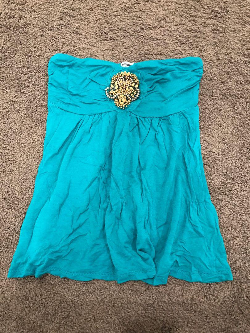 Xs teal strapless top