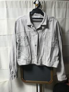 灰色短版薄牛仔外套 #618