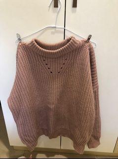 粉紅 厚毛衣 冬天必備