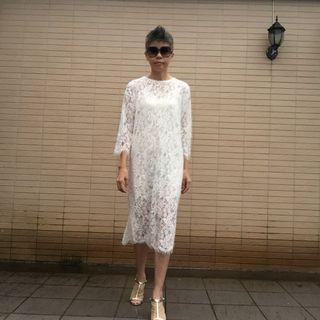 不議價_白色睫毛蕾絲洋裝 連身裙 品牌Meier. Q 尺碼M《二手天堂A13》#換季