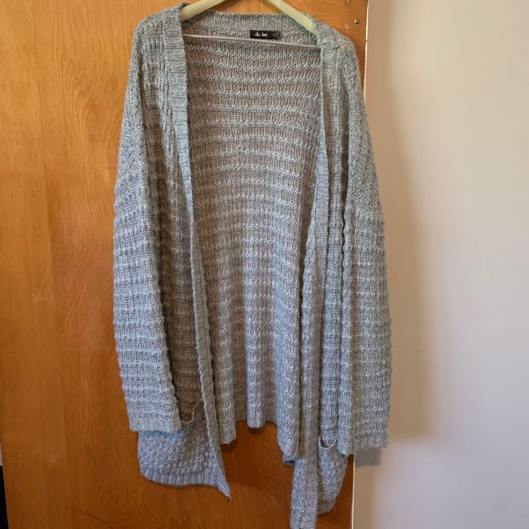 Chic A Booti Grey Long Sweater Knit Cardigan