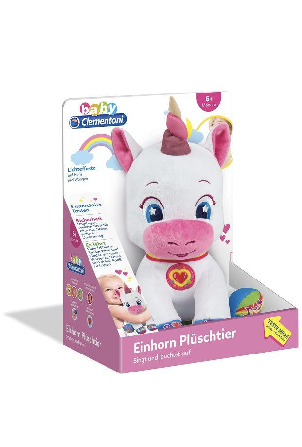Clementoni Baby Singing Interactive Baby Unicorn Soft Plush Toy With Lights