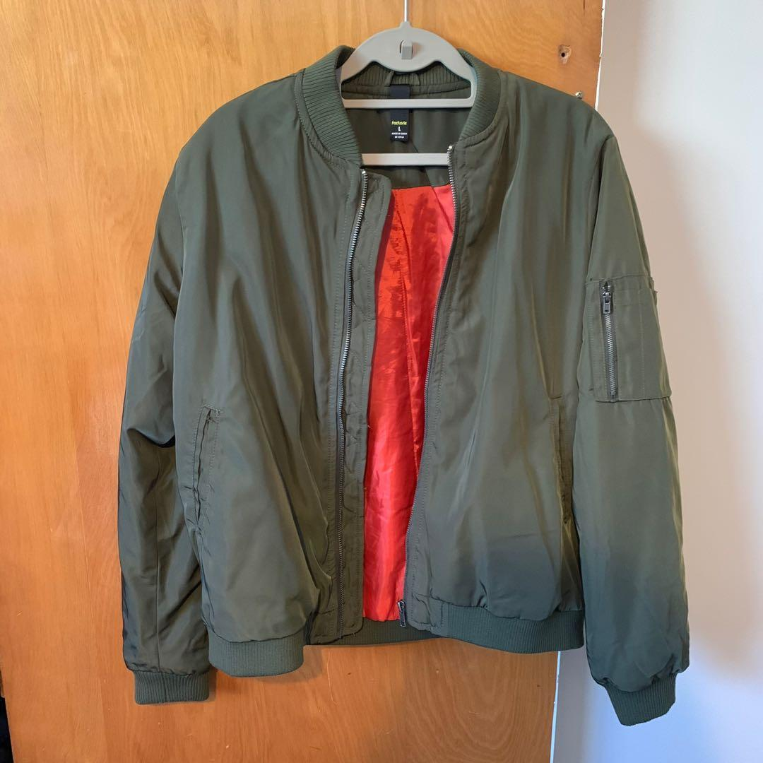Factorie Khaki Green Bomber Jacket