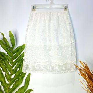 #OctoberSale White Lace Skirt