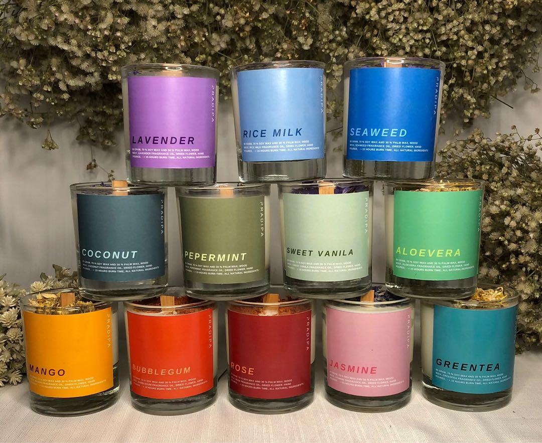 SCENTED CANDLE WITH WOOD WICK | lilin aromatherapy dengan sumbu kayu