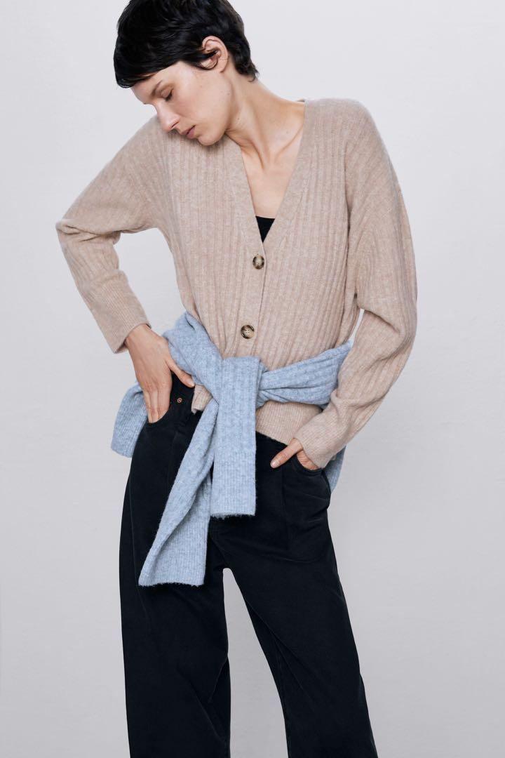 Zara Camel Cardigan Size Large