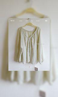 杏色透膚燈籠袖排扣襯衫