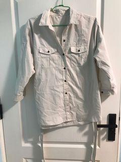 (日本帶回 )米白綁帶襯衫 襯衫外套 綁帶 百搭襯衫 米色襯衫