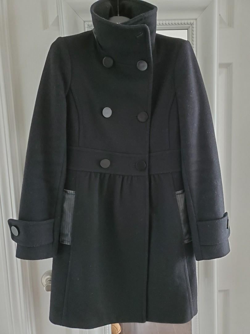 Aritzia Wilfred Black Wool Double Breasted Peacoat - XS