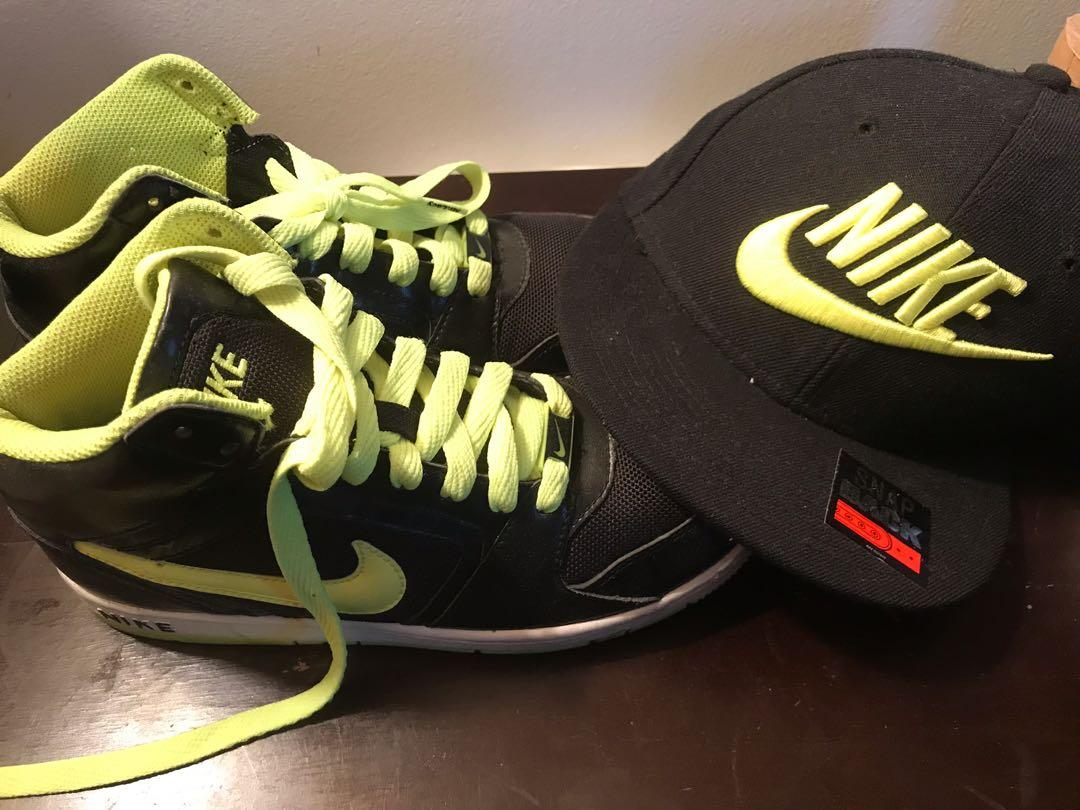 Neon Nike shoes&hat