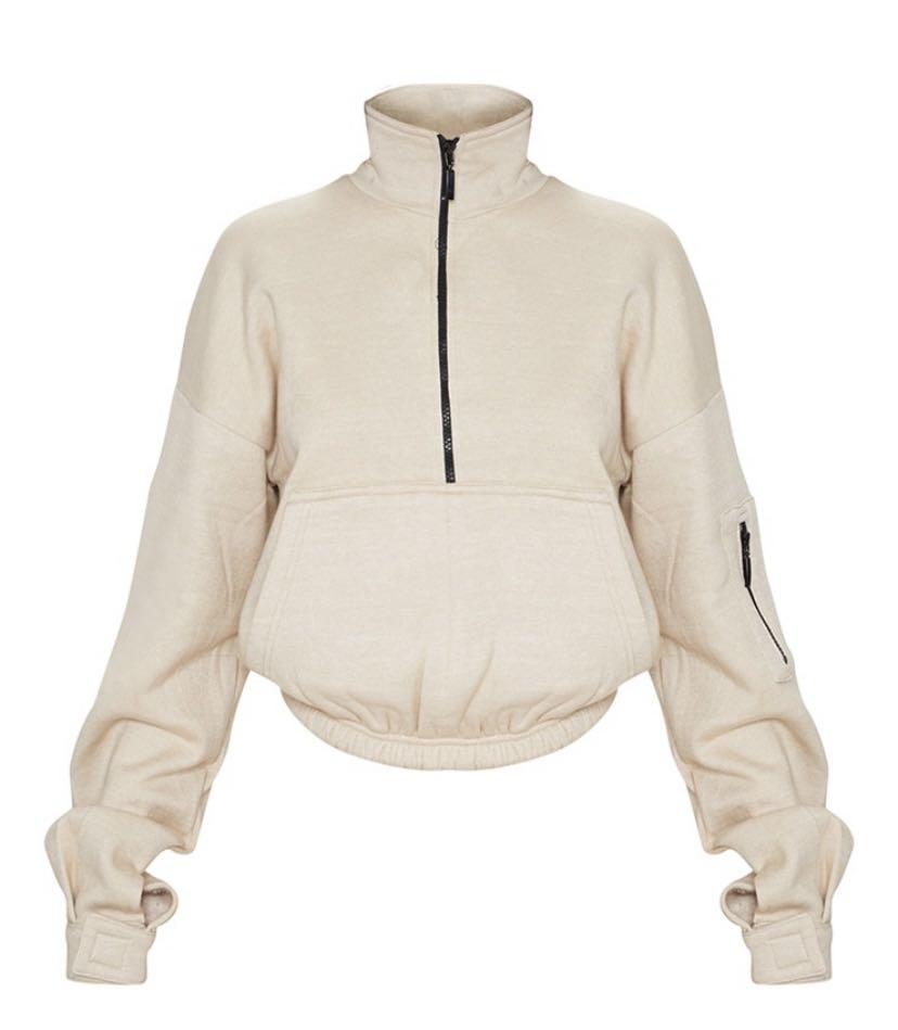 PRETTYLITTLETHINGS Sand Oversized Zip Front Sweater