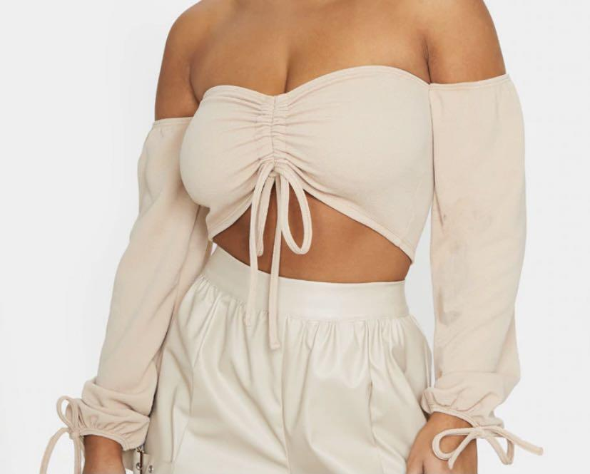 PRETTYLITTLETHINGS Sand Ruched Detail Bardot Long Sleeve Crop Top