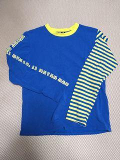 街頭風寶藍撞色設計感上衣