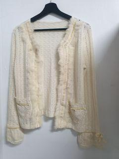 小香風 兔毛 米白色 針織小外套