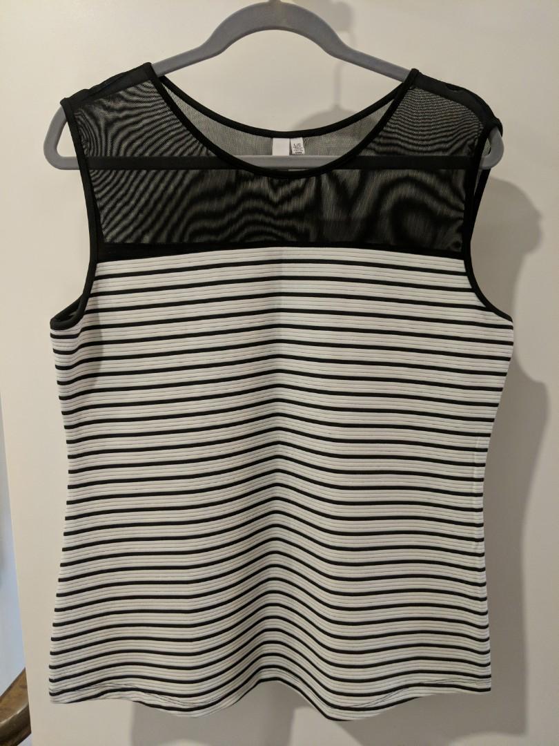 Black and white striped top (L)