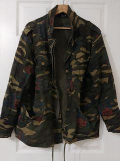 F21 Green Floral Cargo Jacket