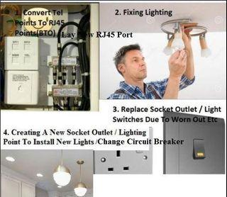 LEW/HDB Electrical Works/BTO Convert Tel To LAN/ New LAN Cat6 LAN Ports/ Convert Telephone Line To Data/ Change Circuit Breaker & Consumer Unit/New Socket Outlet With USB/Electrician/Frequent Tripping Of Circuit Breaker?/Change DB!!!cheap cheap good good