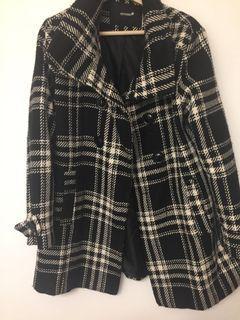 Hot Kiss Black and White Pea Coat