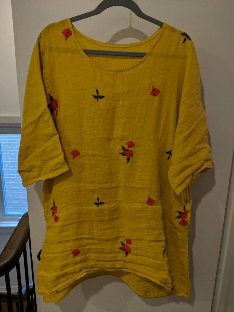Linen Mustard Dress w/ Embroidered Roses
