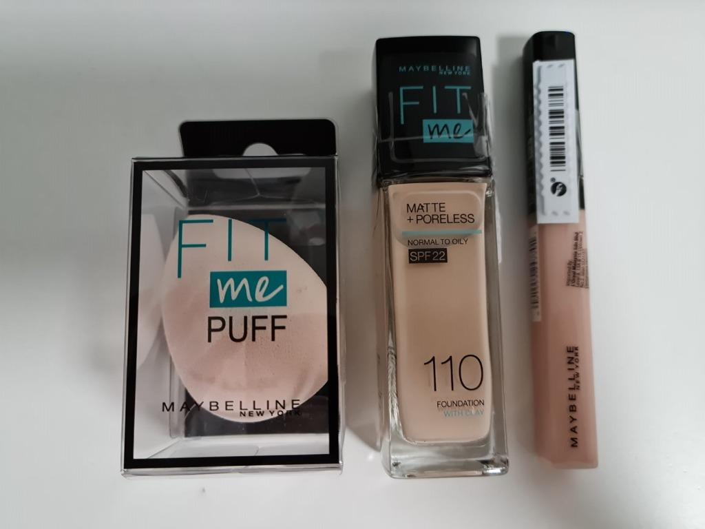 Maybelline Fit Me Matte Poreless Liquid Foundation 110 Porcelain Pump 30ml Maybelline Fit Me Concealer Fair 15 6 8ml Puff Sponge Health Beauty Makeup On Carousell
