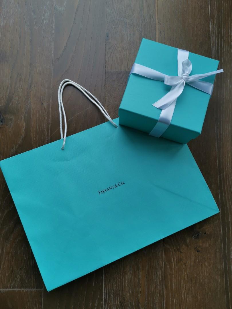 Tiffany & Co. Medium Shopping Bag & Square box w Ribbon
