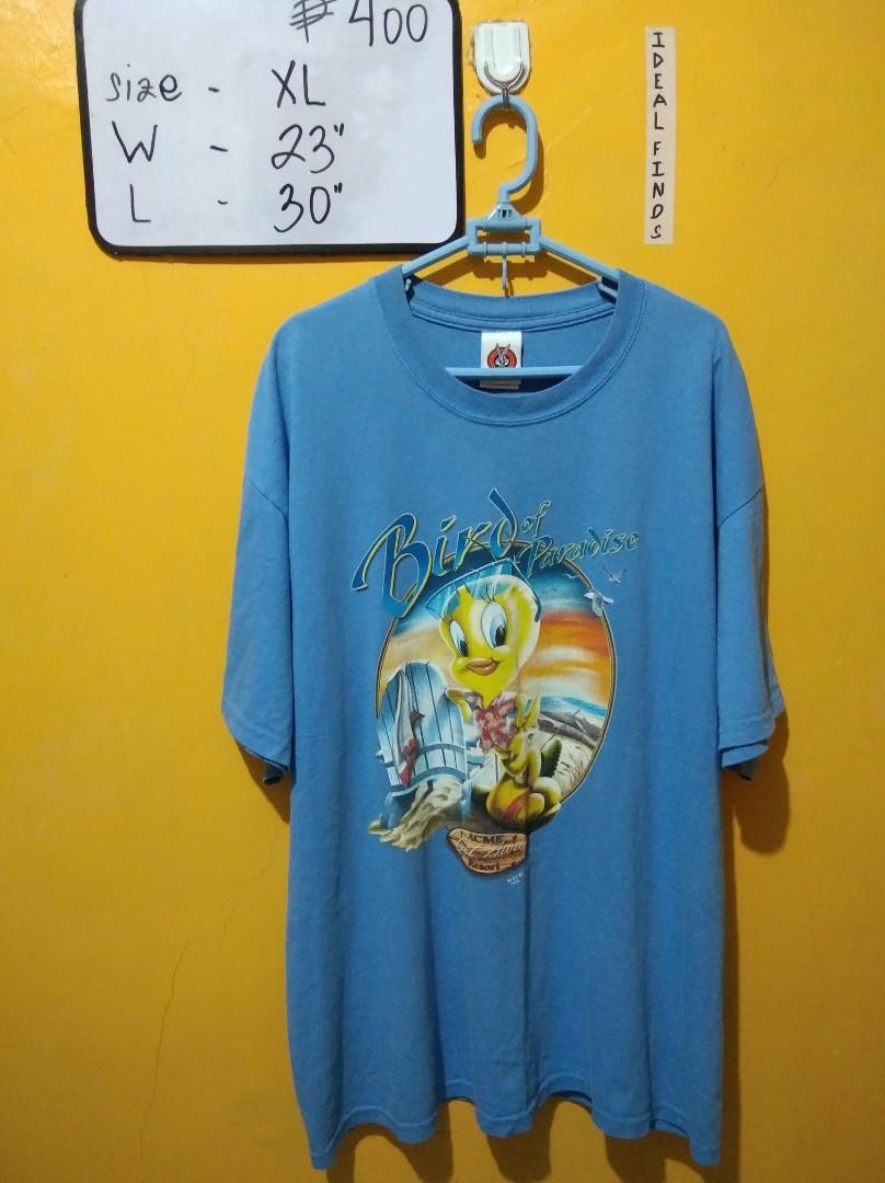 Vintage 90s Looney Tunes Tweety Bird It\u2019s Tough Being Perfect Button Up Short 34 Sleeve Blue Cotton Shirt Size Medium M! ON SALE!
