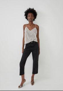 Zara silver sequin top