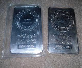 2x 10oz Fine Silver Royal Canadian Mint RCM Bar Bars